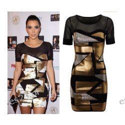 Seksowna sukienka czarno-złoto-srebrna M