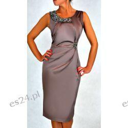 """Seksowna sukienka """"Beata"""" brąz duże rozmiary 48"""