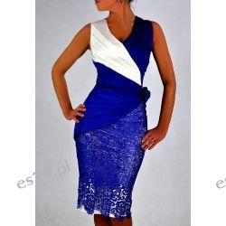 "Seksowna sukienka ""Monique"" szafir duże rozmiary 48"