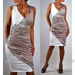 """Seksowna sukienka """"Stylowy beż"""" duże rozmiary 48"""