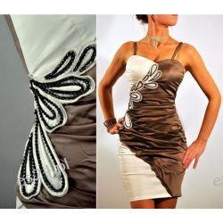 """Seksowna sukienka """"Stylowy brąz"""" duże rozmiary 46"""
