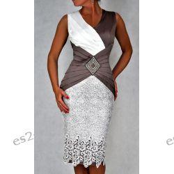 "Seksowna sukienka ""Pamela"" beż duże rozmiary 48"