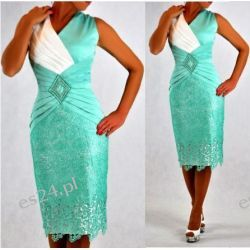 "Seksowna sukienka ""Pamela"" mięta duże rozmiary 48"