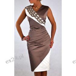 """Seksowna sukienka """"Vanessa"""" beż duże rozmiary 48"""