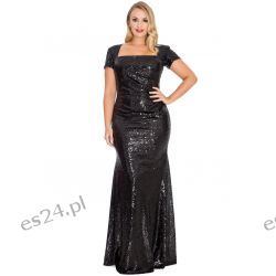 Zjawiskowa sukienka z cekinów czarna 46