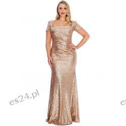 Zjawiskowa sukienka z cekinów złota 46