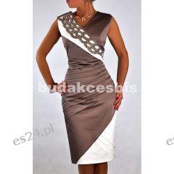 """Seksowna sukienka """"Vanessa"""" beż duże rozmiary 50"""