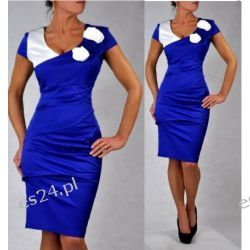 "Seksowna sukienka ""Kasandra"" szafir duże rozmiary 48"