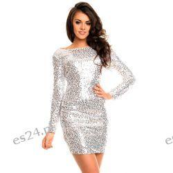 Śliczna srebrna sukienka z cekinów długi rękaw XL