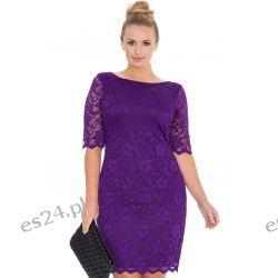 Śliczna fioletowa sukienka z koronki 46