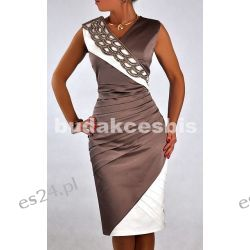 """Seksowna sukienka """"Vanessa"""" beż duże rozmiary 46"""
