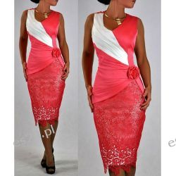 """Seksowna sukienka """"Monique"""" duże rozmiary koral 50"""