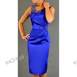"Seksowna sukienka ""Beata"" szafirowa duże rozmiary 46"