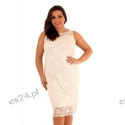 Śliczna sukienka z koronki w kolorze ecru 48