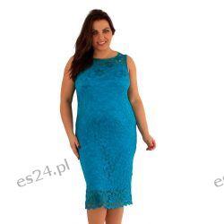 Śliczna sukienka z koronki w kolorze turkusowym 48