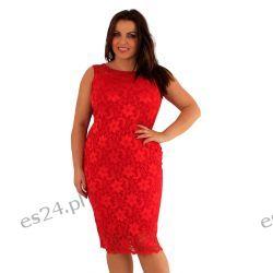 Śliczna sukienka z koronki w kolorze czerwonym 48
