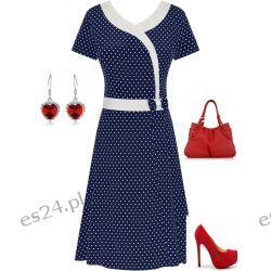 Śliczna sukienka grantowa w groszki Monika 50