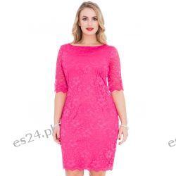 Śliczna różowa sukienka z koronki 46