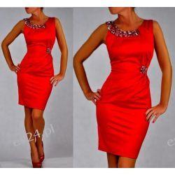"""Seksowna sukienka """"Beata"""" czerwona duże rozmiary 46"""