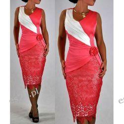 """Seksowna sukienka """"Monique"""" koral duże rozmiary 46"""