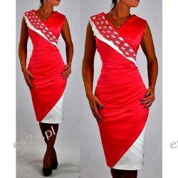 """Seksowna sukienka """"Vanessa"""" koral duże rozmiary 46"""