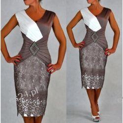 Śliczna sukienka Pamela beż 44