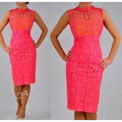 """Seksowna sukienka """"Lidia"""" duże rozmiary koral 46"""