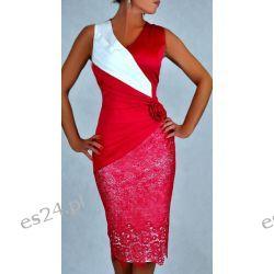 "Seksowna sukienka ""Monique"" amarant duże rozmiary 46"