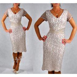 """Seksowna sukienka """"Venus"""" duże rozmiary beż 46"""