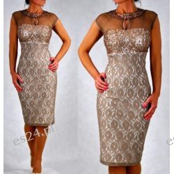 "Seksowna sukienka ""Lidia"" duże rozmiary beż 46"