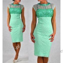 "Seksowna sukienka ""Lidia"" duże rozmiary mięta 46"