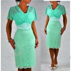 """Seksowna sukienka """"Arkadia"""" duże rozmiary mięta 46"""