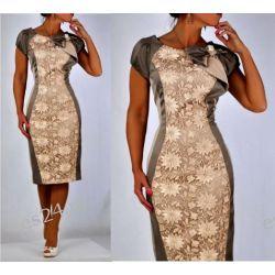 Elegancka sukienka beżowa Gloria 46