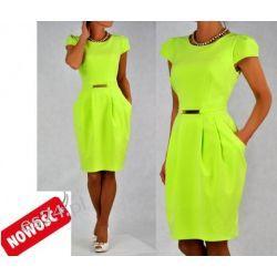 Śliczna sukienka limonkowa Spors 46