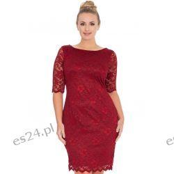 Śliczna sukienka z koronki w kolorze wina 50
