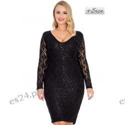 Śliczna sukienka z koronki czarna 46