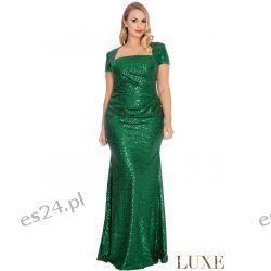 Zjawiskowa sukienka z cekinów zielona 52