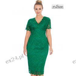 Śliczna sukienka z koronki zielona 48