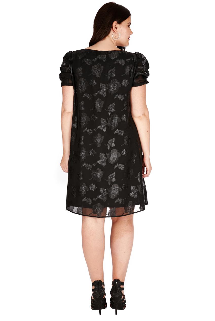 90426d72b9 Pełny opis Śliczna czarna sukienka z szyfonu w kwiaty 48