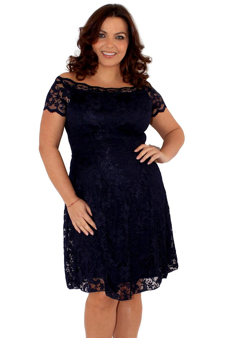 7a753f8e9e Śliczna Granatowa Sukienka Z Koronki 50