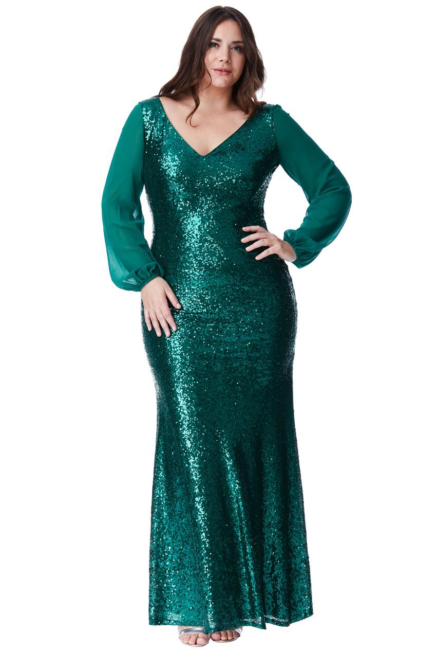 dfd3190a5b Zjawiskowa Sukienka Z Cekinów Zielona 50