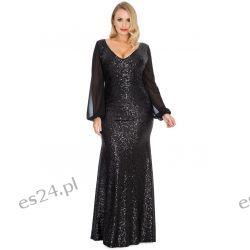 381be6ff8b Zjawiskowa Sukienka Z Cekinów Czarna 44