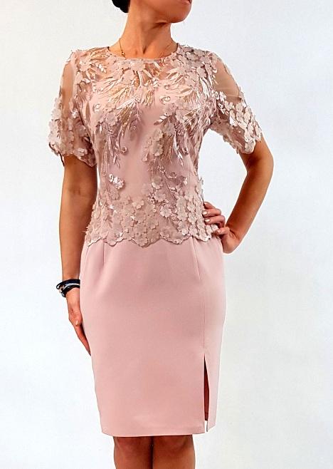 35a85b5322 Elegancka Sukienka Ewelina Róż 46