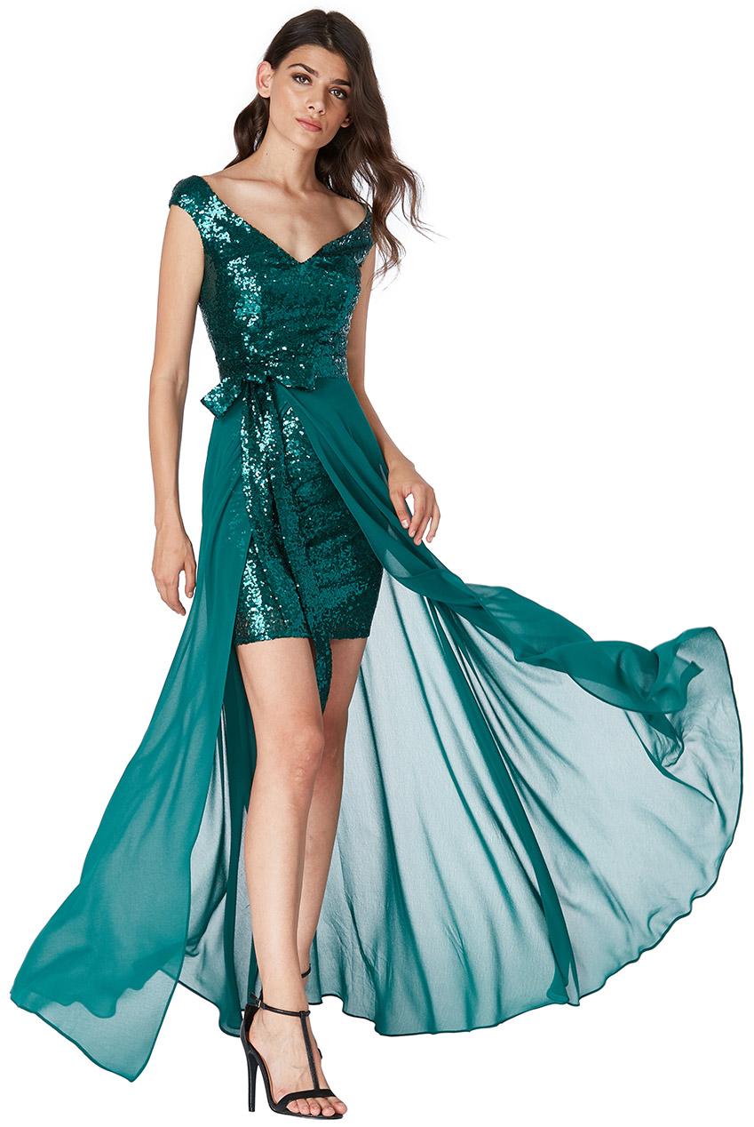 061e26c4dc Luksusowa Sukienka 2 W 1 Cekiny-Szyfon Zielona Xs