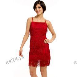 Śliczna sukienka z frędzlami czerwona M