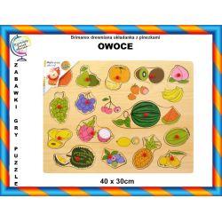 Drewniane puzzle z pinezkami OWOCE 12m+ TYCHY