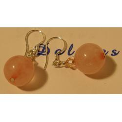 Kolczyki z kwarcem różowym i kryształkiem Swarovskiego Na rękę