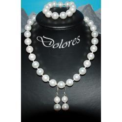 Elegancki komplet ślubny z białych pereł Majorka i srebrnych kulek Na rękę