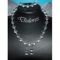 Naszyjnik, bransoletka i kolczyki z 1 cm kulek z kryształu górskiego. srebrnych kulek i kryształków Swarovskiego  Na rękę