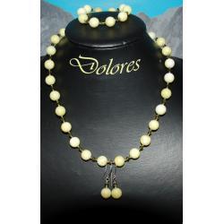 Naszyjnik, bransoletka i kolczyki z kamienia musztardowego, srebra i kryształków Swarovskiego Na rękę